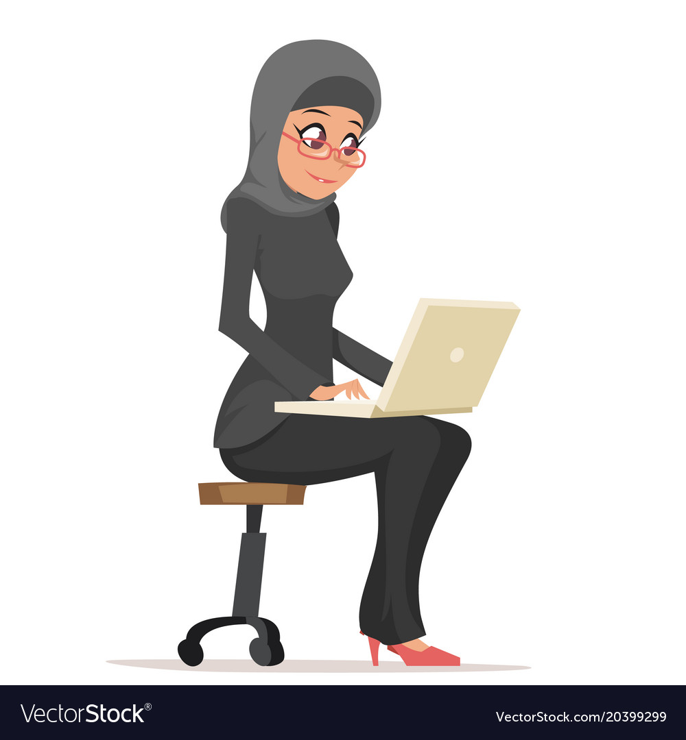 Smiling business woman lady arab cute traditional