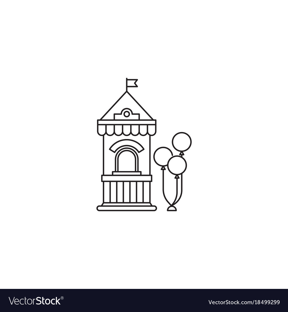 Ticket booth with balloons icon linear vector image