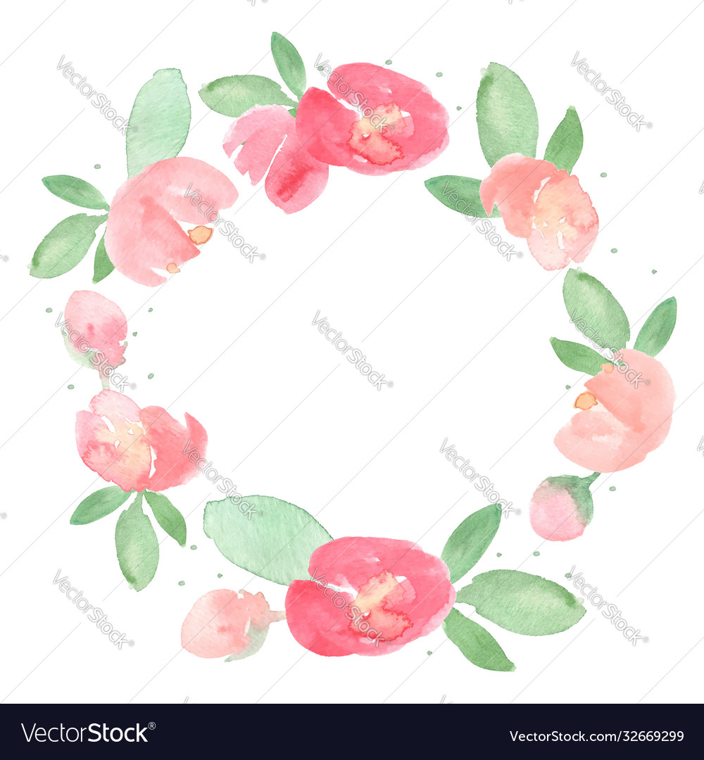 Watercolor loose red and pink peony flower bloom