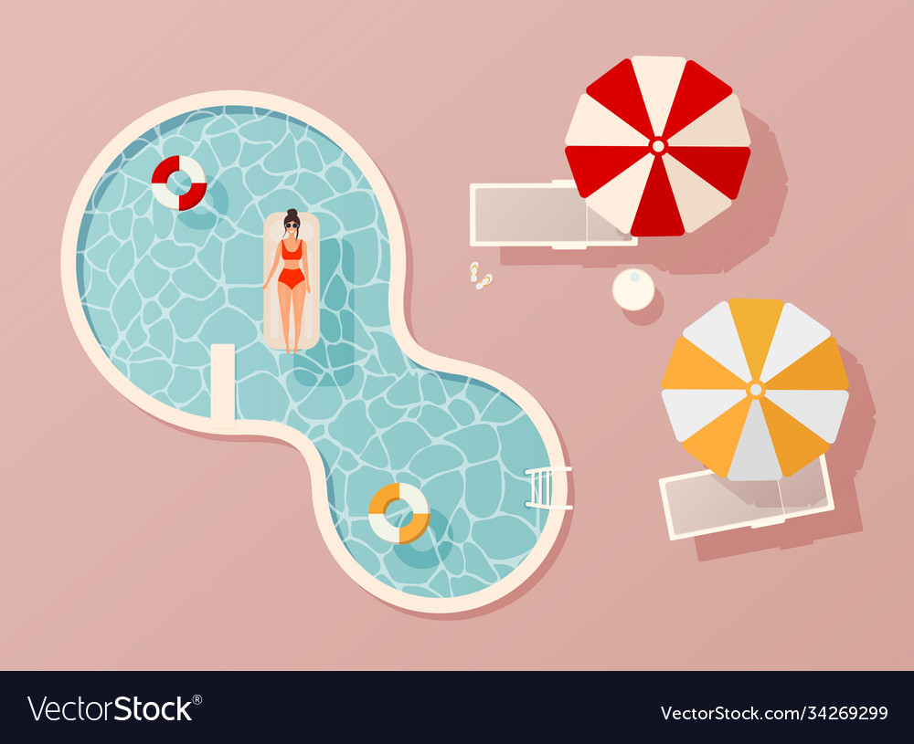 Woman in swim suit lying on floating swimming