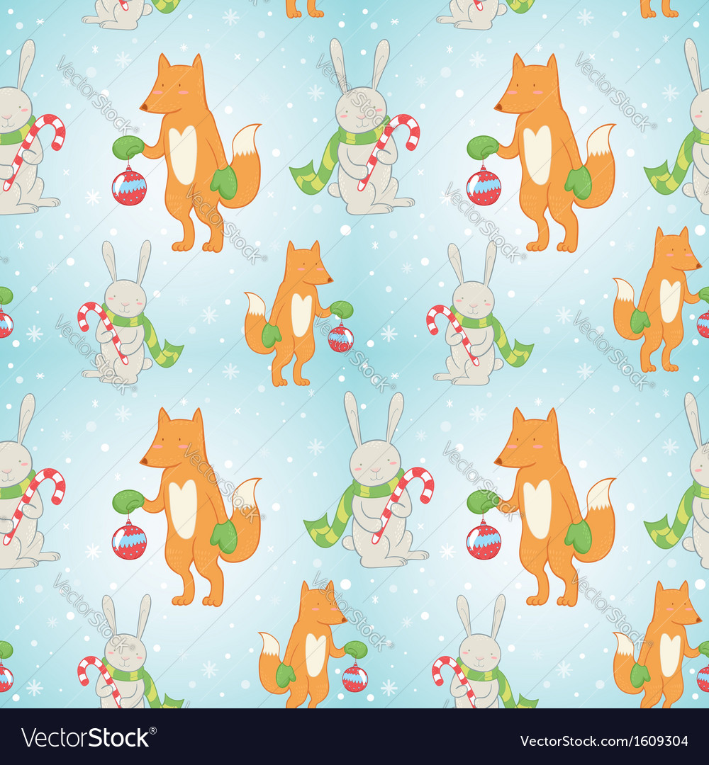 Christmas seamless pattern with bunny and fox