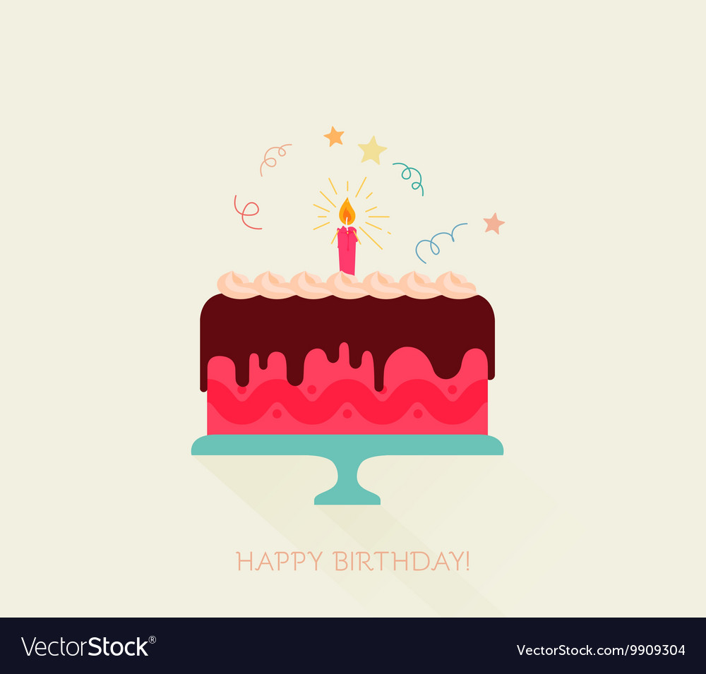 Happy Birthday Card with a Cake