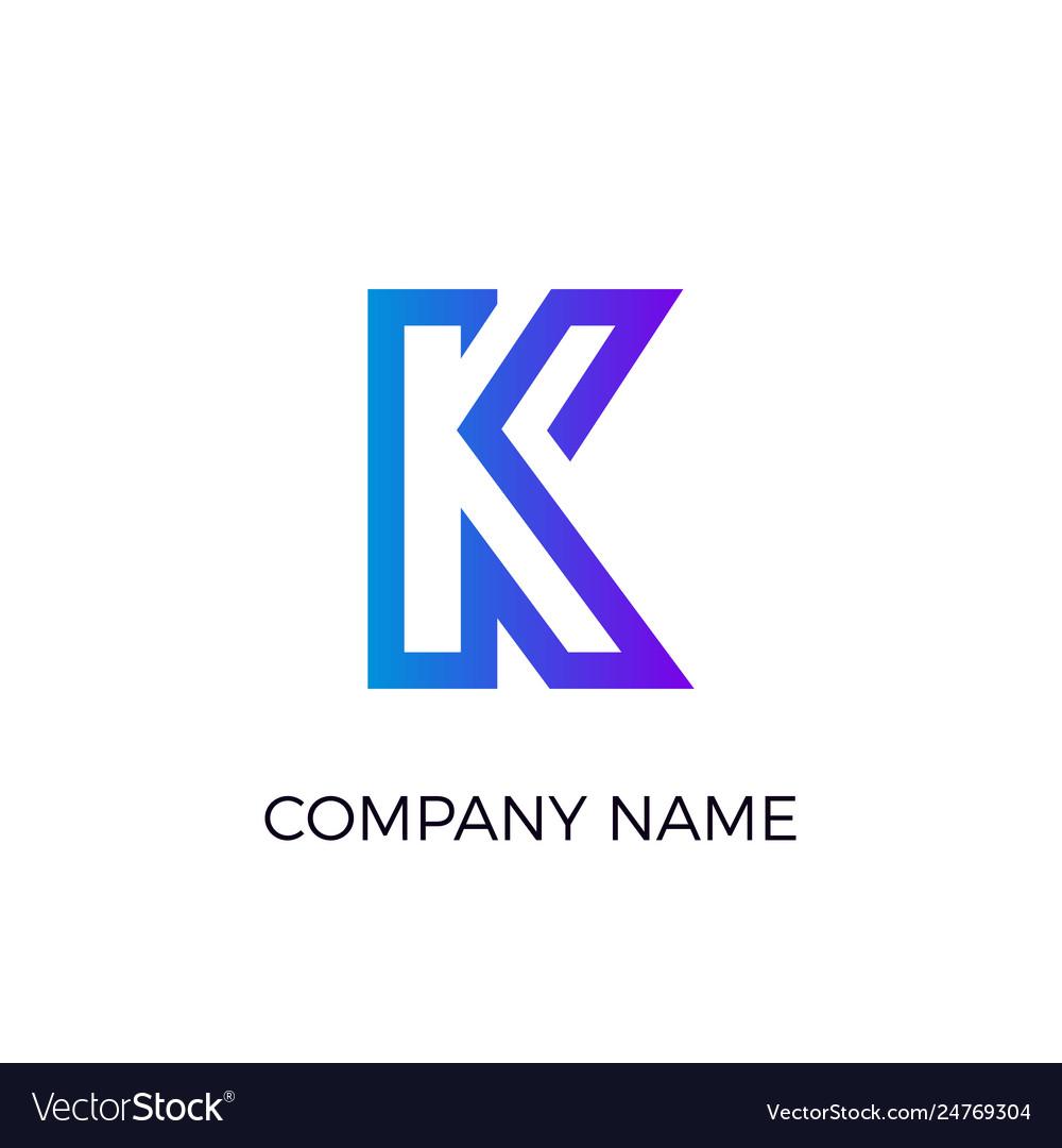 Letter logotype minimalistic flat blue logo
