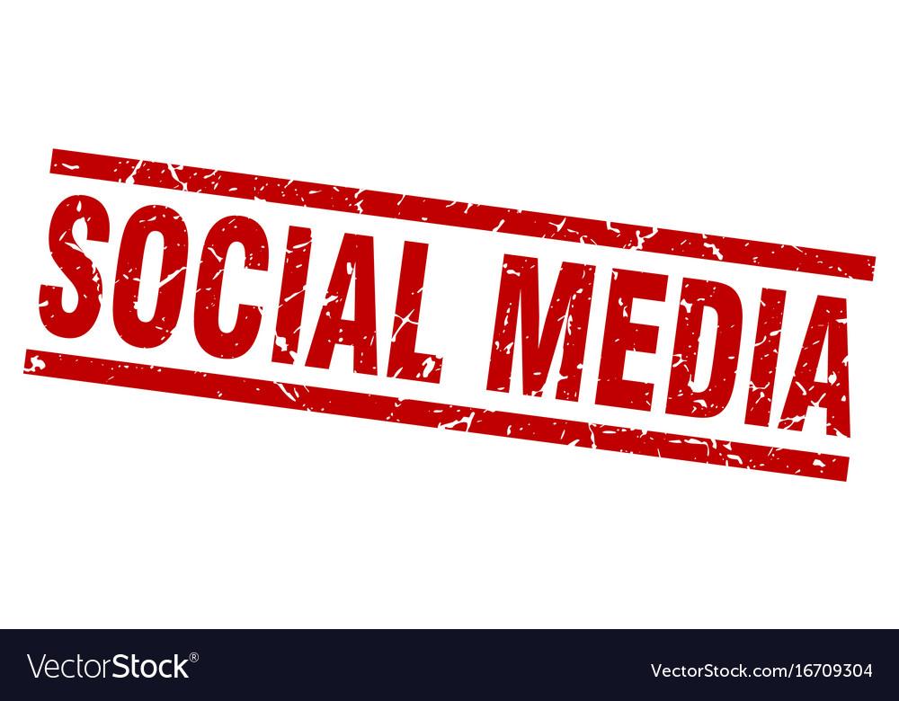 Square grunge red social media stamp