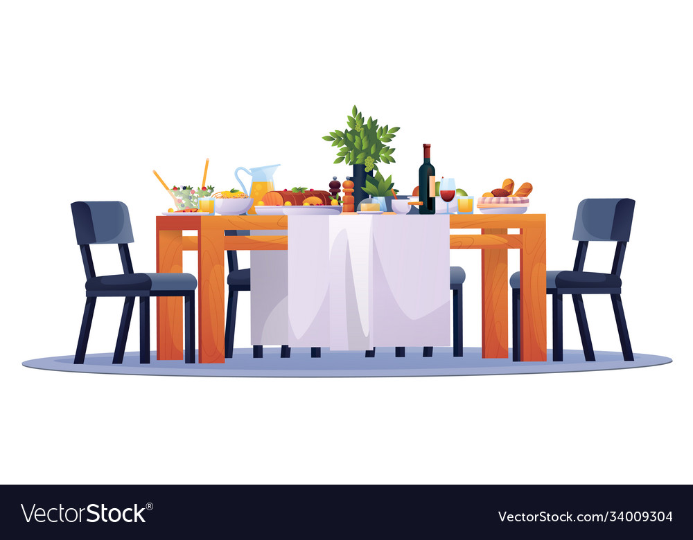 Table laid festive dinner food dishes and chairs