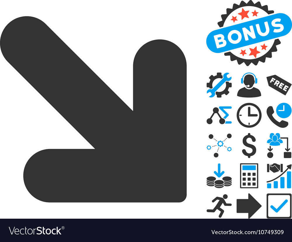Arrow Down Right Flat Icon with Bonus