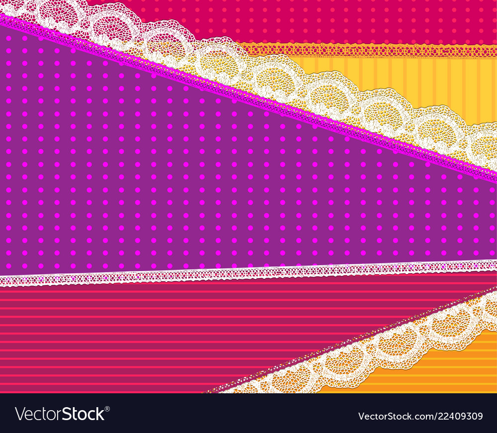 Background with fabric and bright lace design