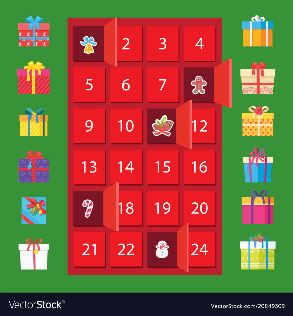 Calendar with winter holidays and present boxes