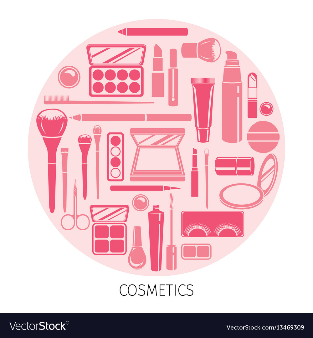 Cosmetics icons set in circle frame