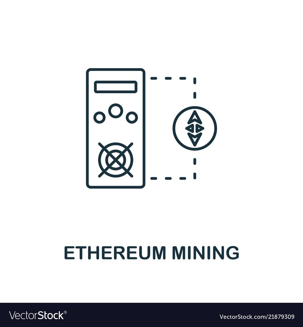 Ethereum mining outline icon monochrome style