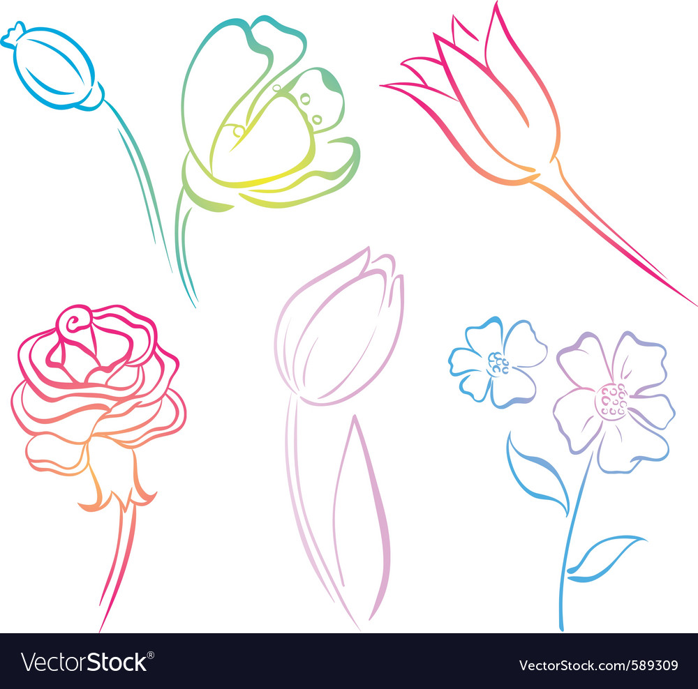 Download Flower Picture on Flower Art Line Vector 589309   By Iarada