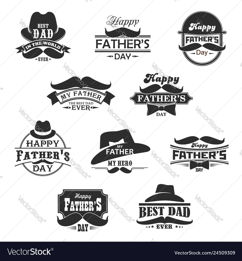 Happy father day mustaches and hat icons