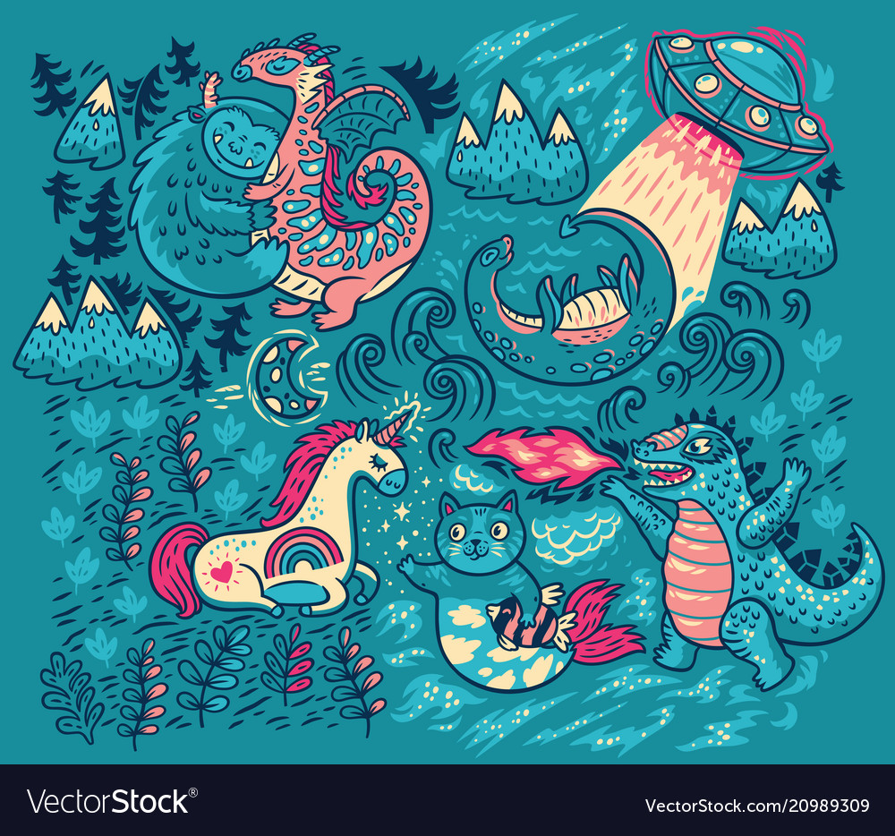 Print with fantastic creatures