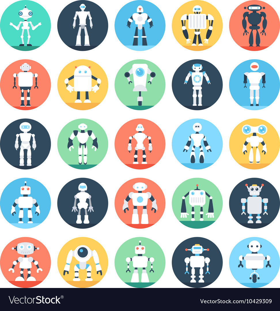 Robots Colored Icons 1