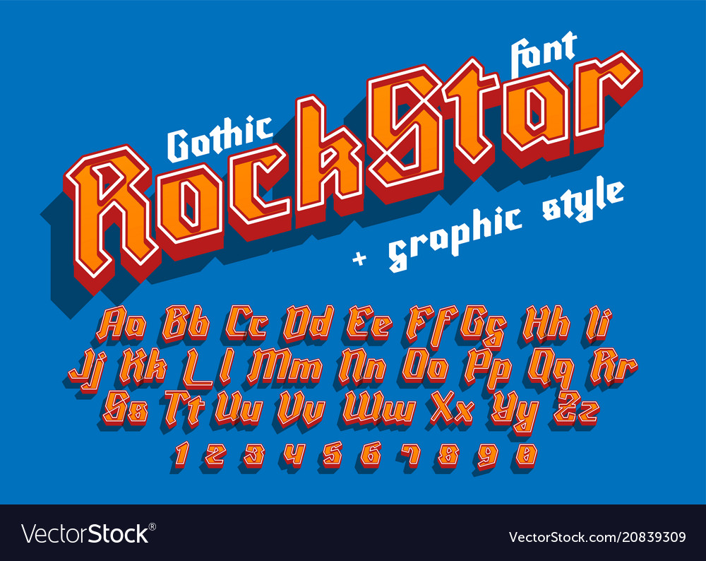 Rock star - decorative font with graphic style