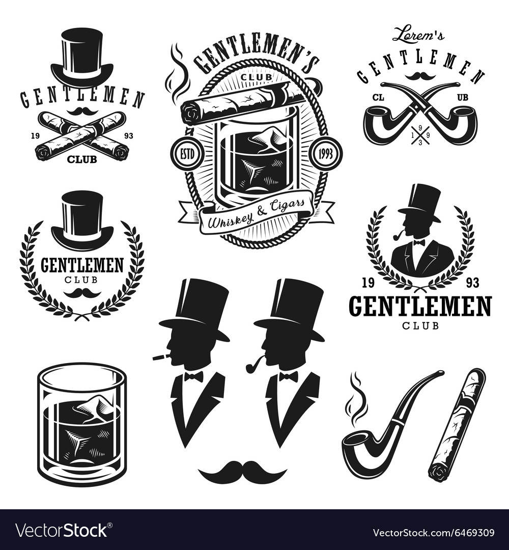 Set of vintage gentlemen emblems and elements
