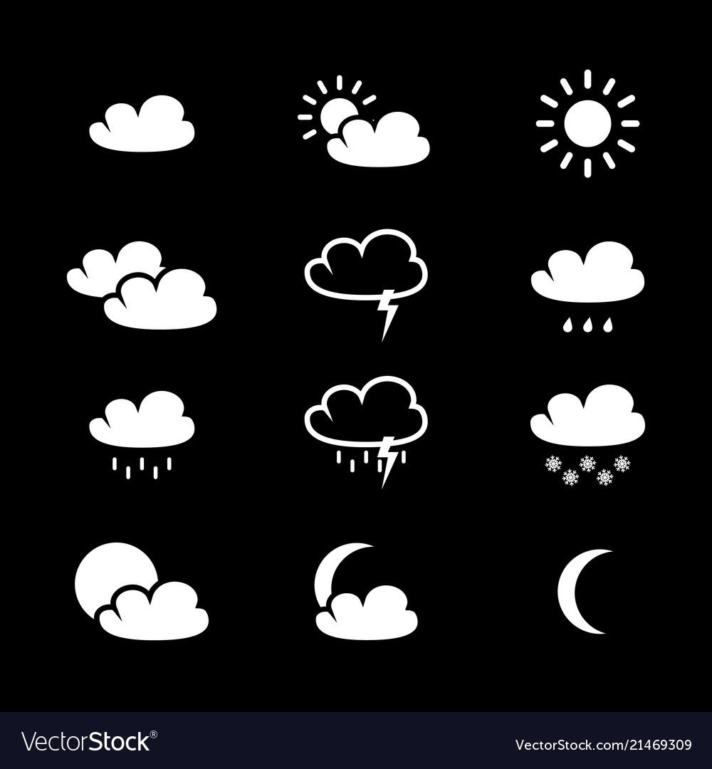Set of weather black icons