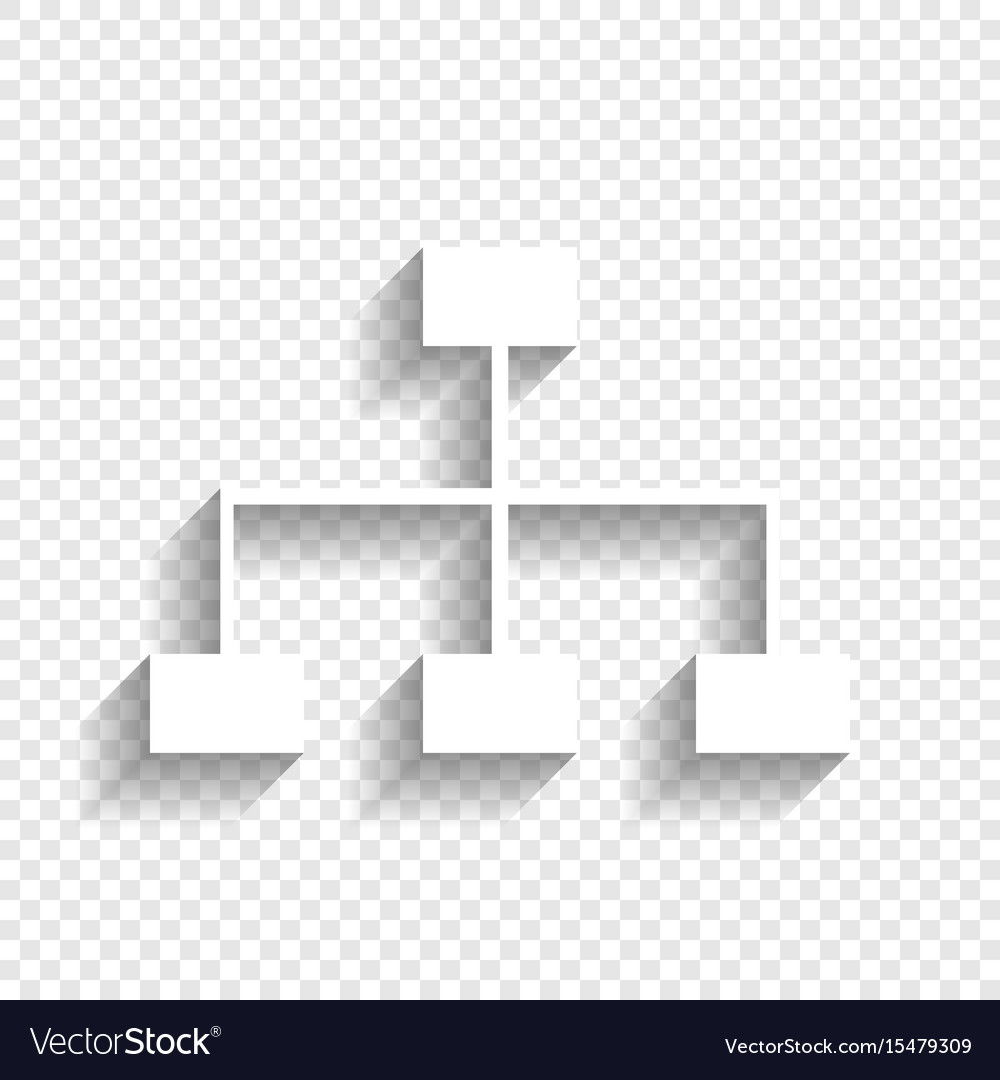 Site map sign white icon with soft shadow
