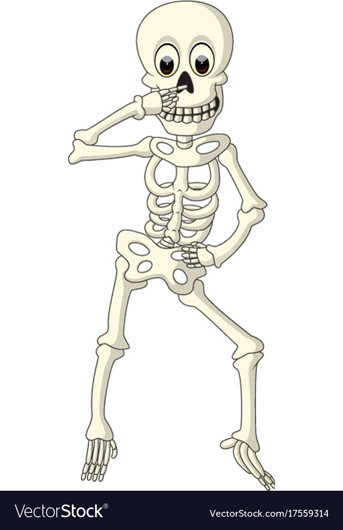Cartoon Funny Human Skeleton Dancing Royalty Free Vector