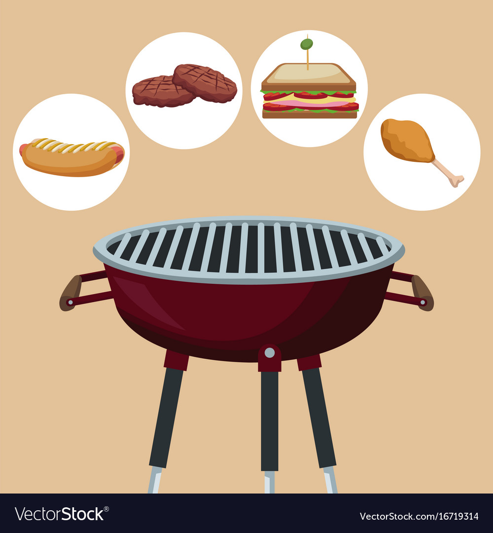 Color background with grill barbecue with icons