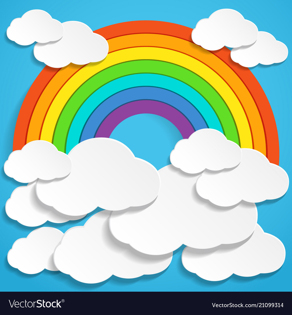 Colorful rainbow and clouds in blue sky