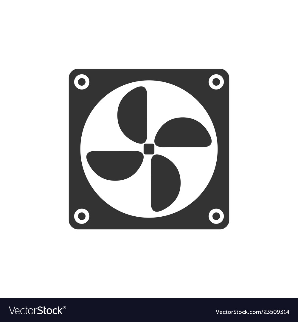 Computer cooling fan icon flat