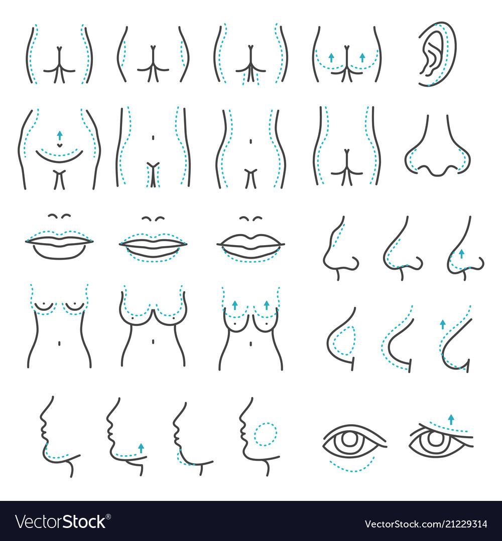 Plastic surgery icons