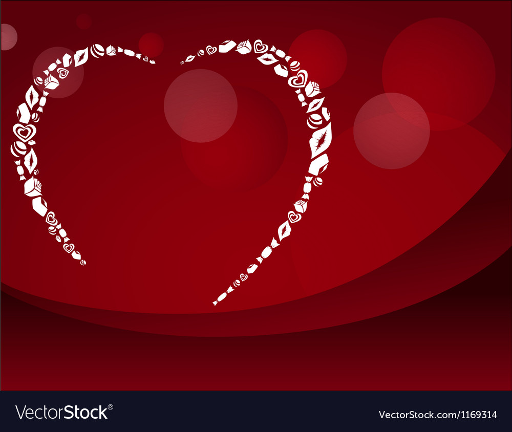 Red Valentine postcard with heart silhouette
