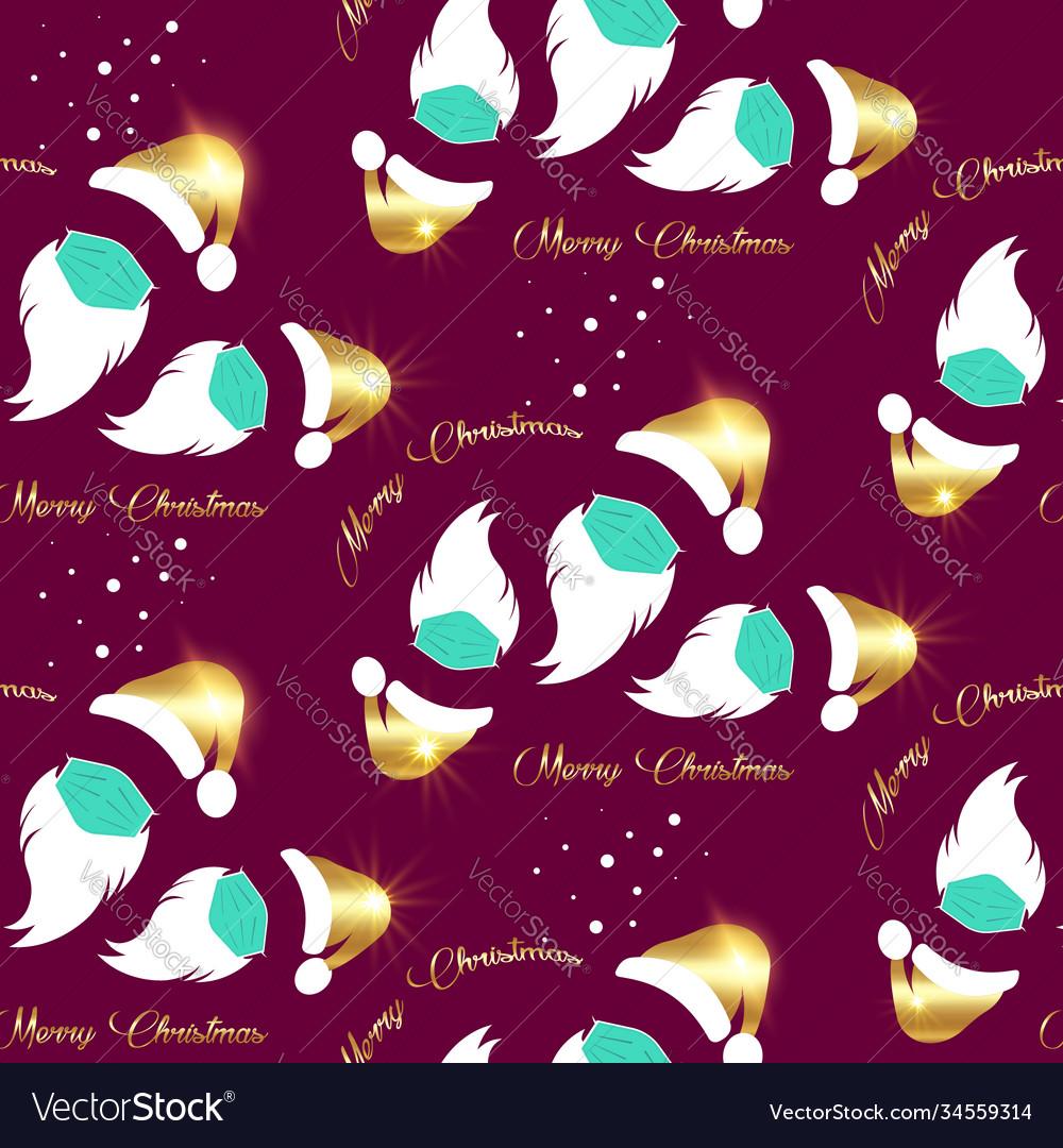 Santa claus wears surgical mask seamless pattern