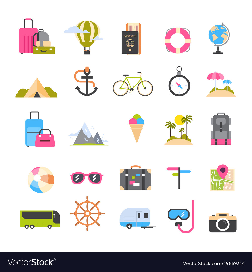 Set of icons for travel and tourism active