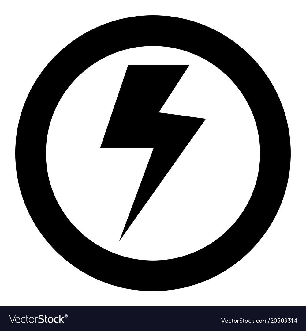 Symbol electricity icon black color in circle vector image on VectorStock