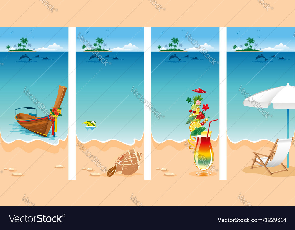 Vacation set vector image