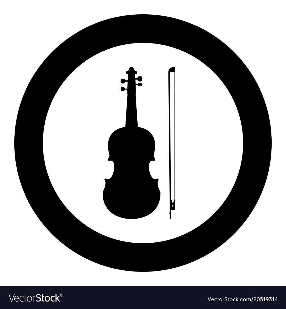 Violin icon black color in circle