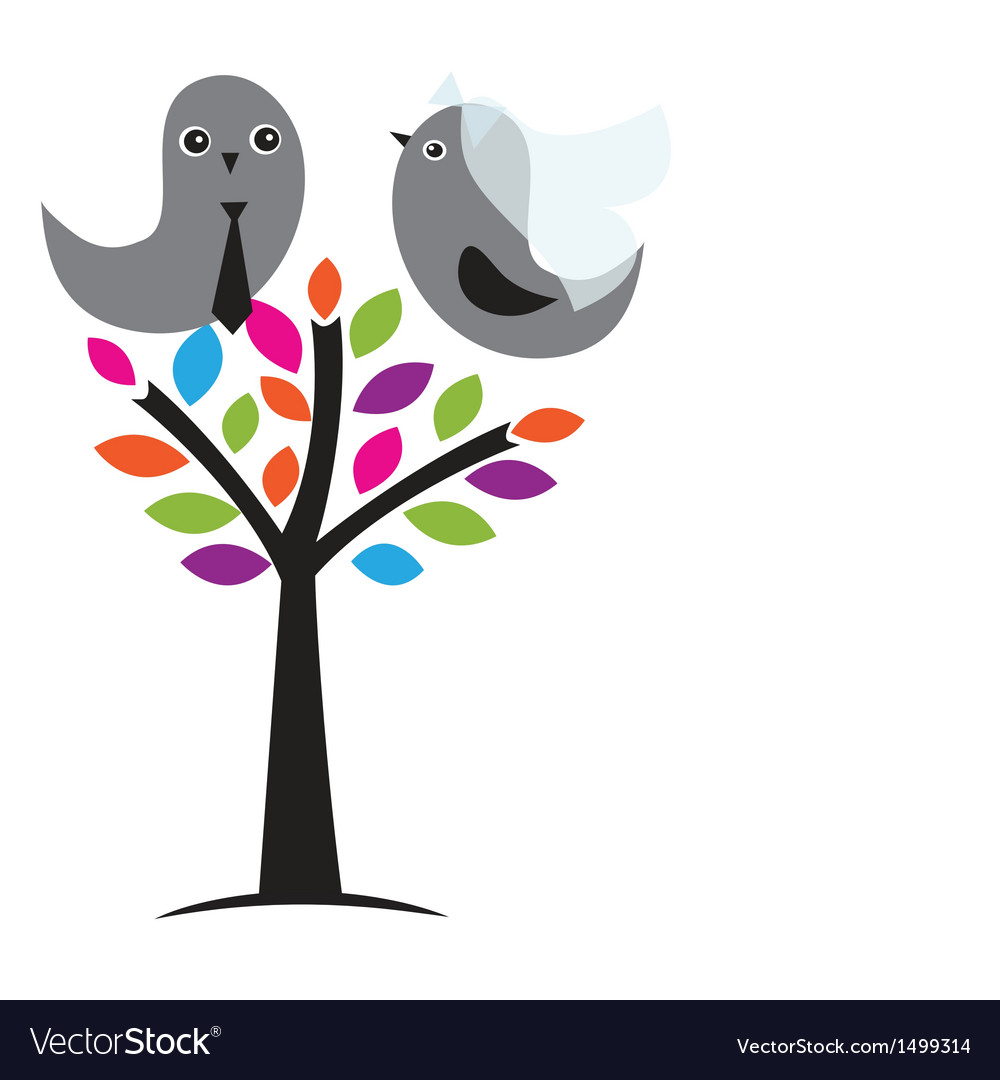 Wedding invitation with two cute swan birds in Vector Image