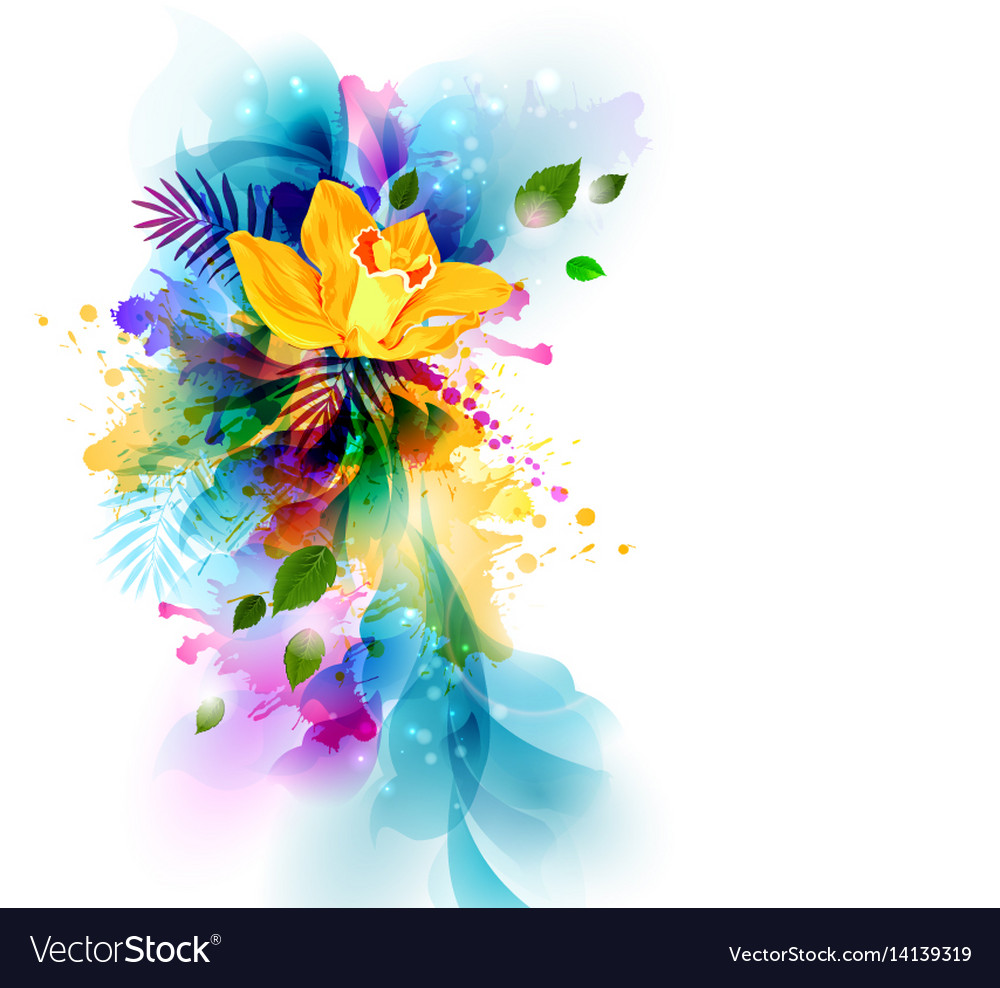 Bright background with yellow orchid flowers on vector image mightylinksfo