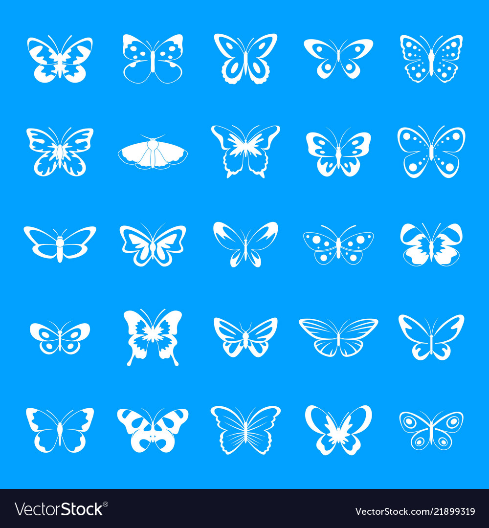 Butterfly icons set simple style