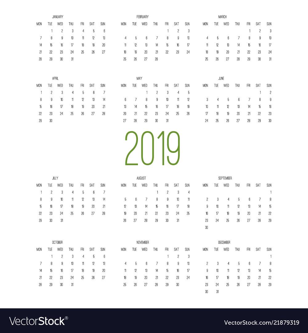 Calendar 2019 week starts from sunday business