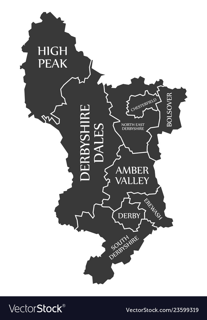 Map Of England Derbyshire.Derbyshire County England Uk Black Map With White