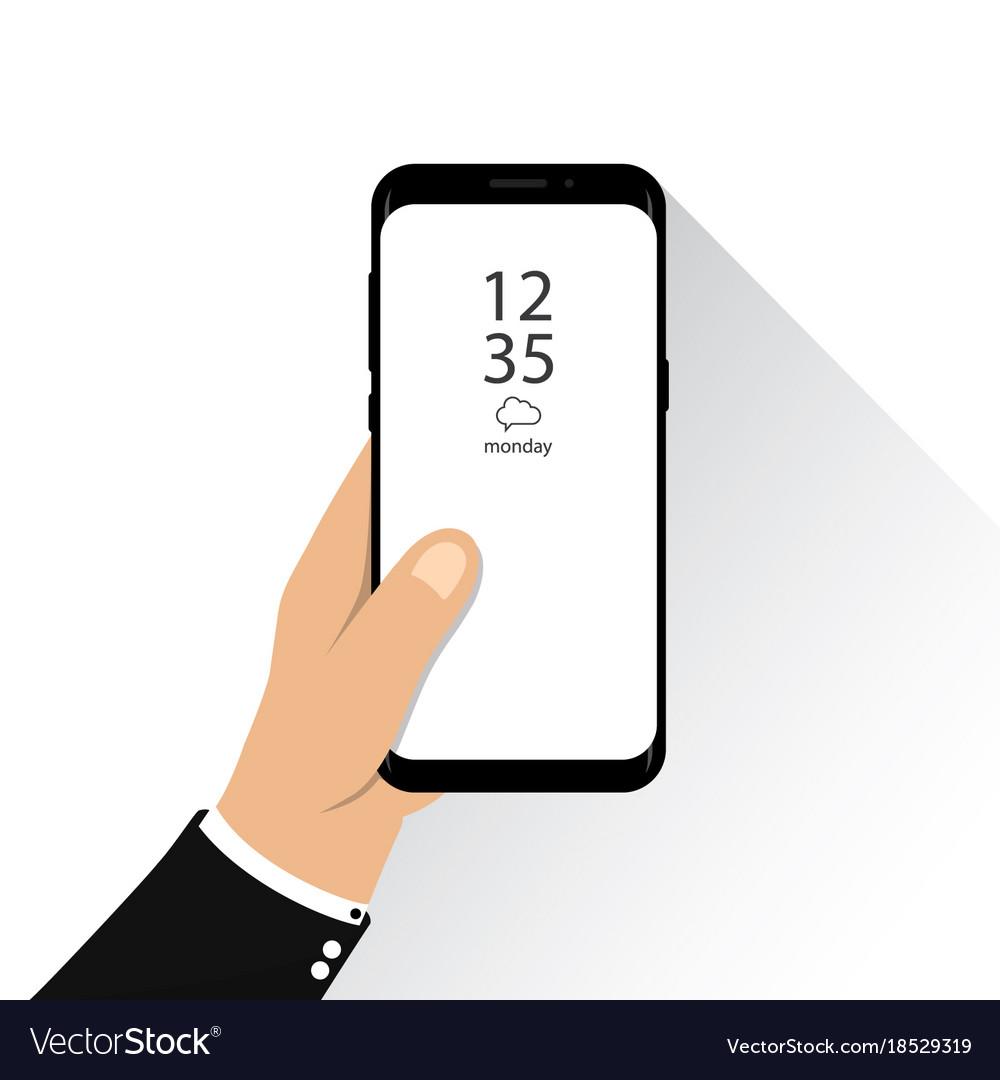 Hand holding new version of smartphone fram