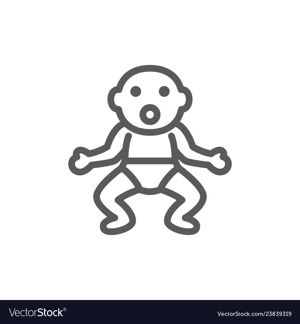 Little baby in diapers line icon