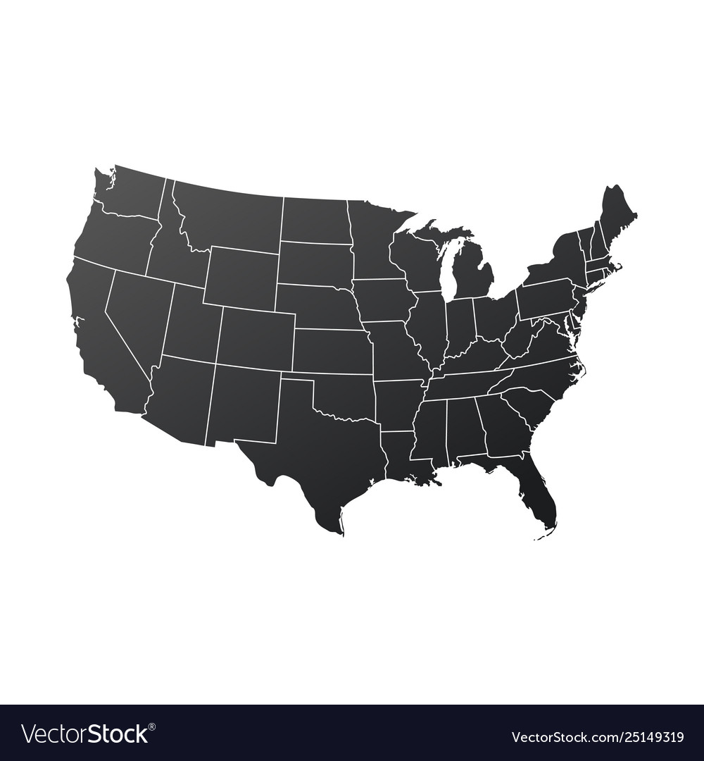 Map usa in black color isolated on white