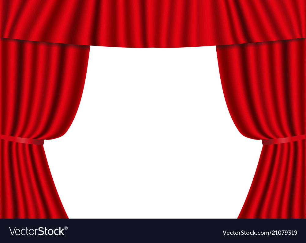 Red open curtains isolated on a white background