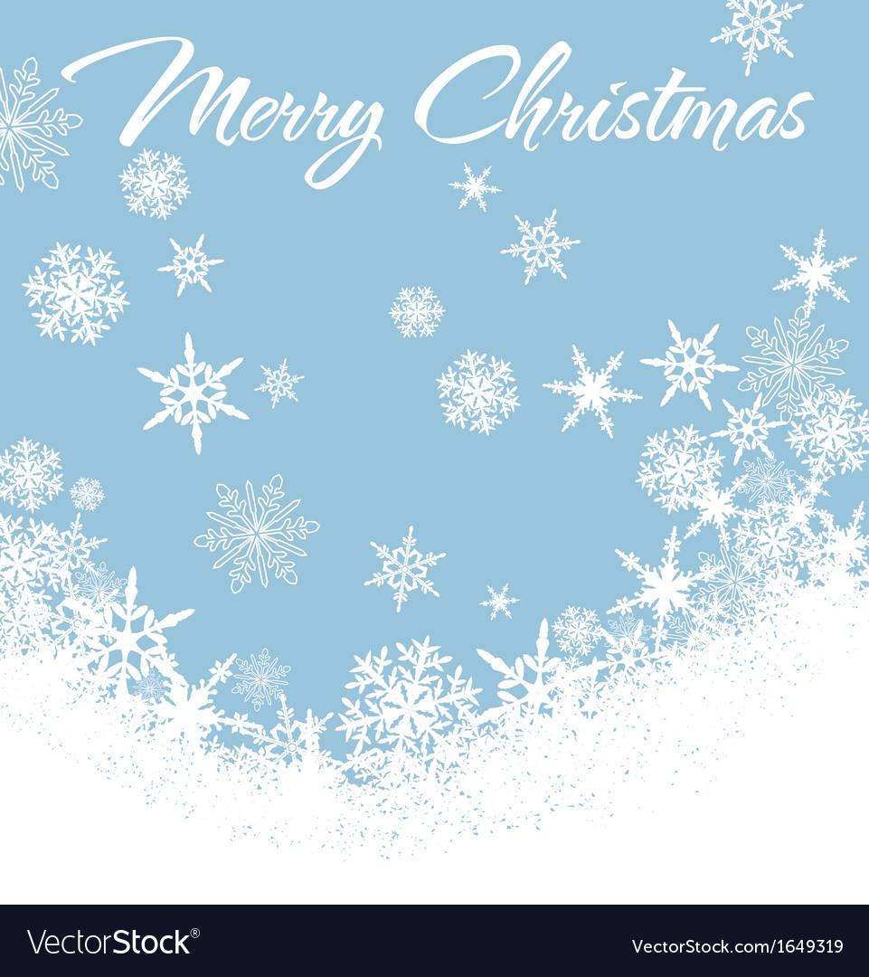 Snowflakes Chrismas Card Blue 2 vector image