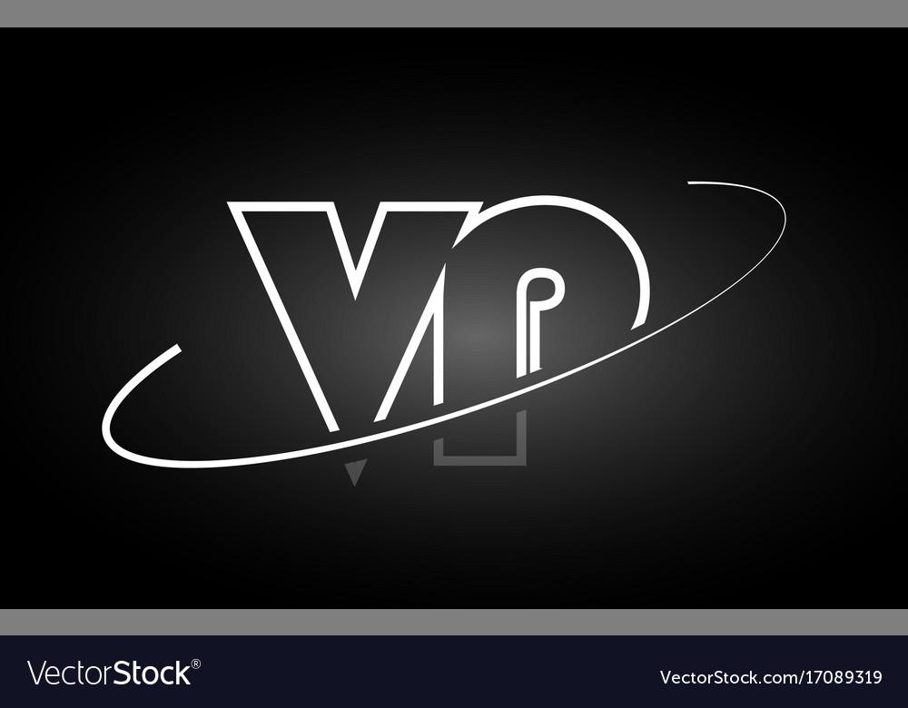Vp V P Letter Alphabet Logo Black White Icon Vector Image