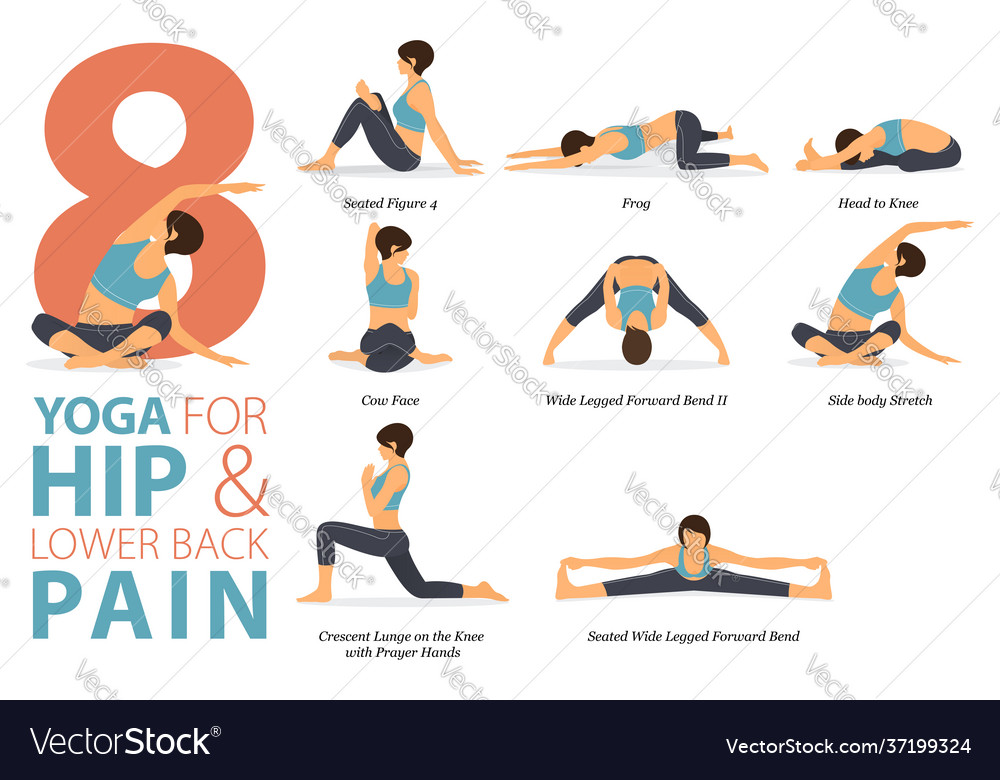 8 yoga poses for hip and lower back pain concept