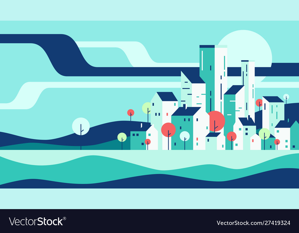 Abstract geometric flat style cityscape