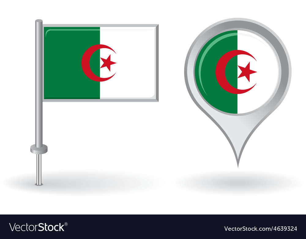 Algerian pin icon and map pointer flag