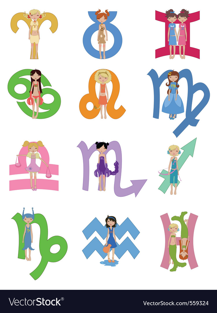 Astrological Zodiac Signs Royalty Free Vector Image