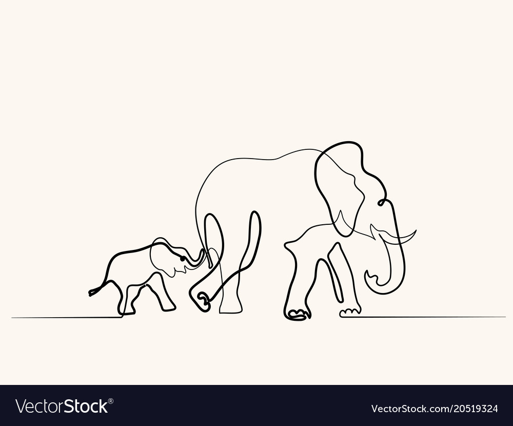 Elephant mom with baby walking symbol vector image