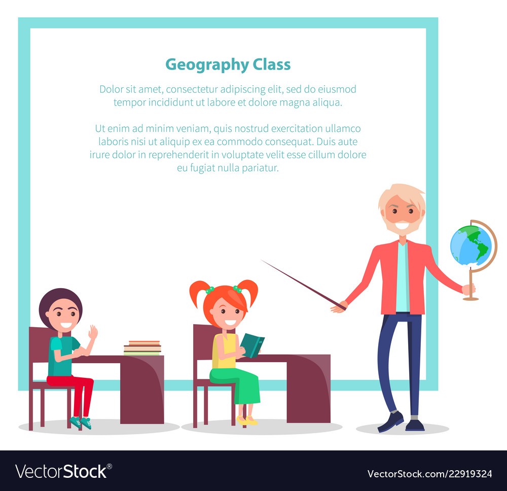 Geography class poster with teacher holding globe